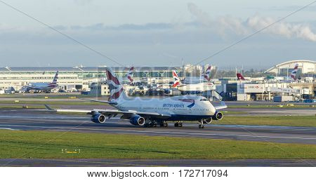 LONDON, UK - CIRCA 2016: British Airways Boeing 747 on Runway at Heathrow Airport