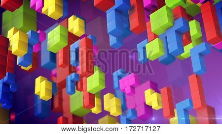 3d rendering of Cube retro game. Beautiful backdrop with 3d blocks.