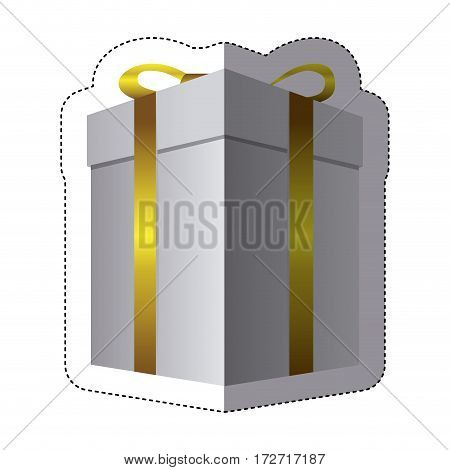 color sticker silhouette with gift box vector illustration