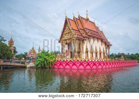 Koh Samui, Thailand - Januar 1st 2017: Ordination Hall in the Center of Wat Plai Leam Buddhist Temple (Samui Floating Temple) built in Early 2000s.