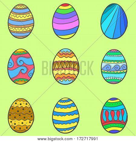 Set of style easter egg vector art