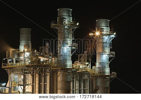 Power plant structure detail at night