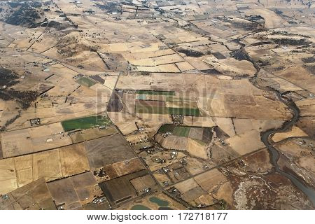 Aerial view of agricultural fields in Tasmania in autumn