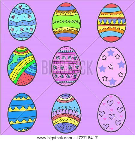 Set of easter egg various style vector art