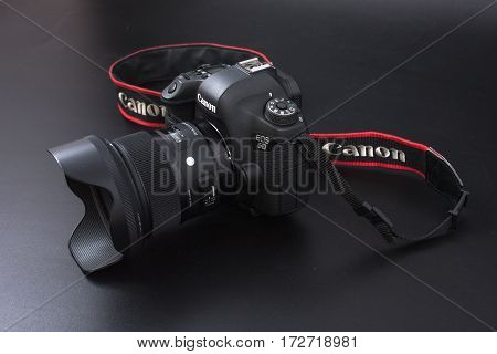 Gomel, Belarus - 22 February 2017: Canon Camera - 6D With Sigma Lenses - 24 On The Black Background.