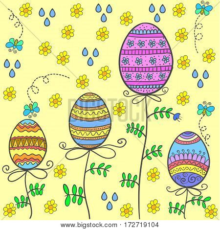 Doodle of easter egg on yellow background vector art
