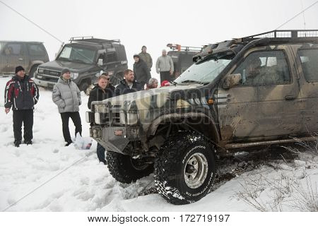 ALMATY ,KAZAKHSTAN - FEBRUARY 21 2013: Off-road racing on jeeps Car competition ATV. Traditional race
