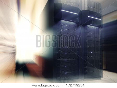 futuristic modern server room in the data center with light blur and motion