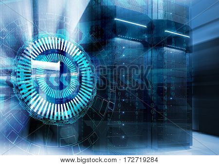 abstract futuristic background on close up modern interior of server room, Super Computer, Data ce