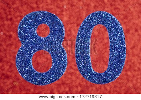 Number eighty blue color over a red background. Anniversary. Horizontal