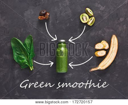 Detox cleanse drink concept, green vegetable smoothie ingredients. Natural, organic healthy juice in bottle for weight loss diet or fasting day. Kiwi, banana and spinach mix, flat lay on black