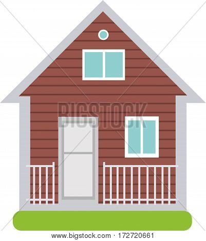 Two-storey wooden house. Illustration on white background. Cartoon vector flat-style illustration