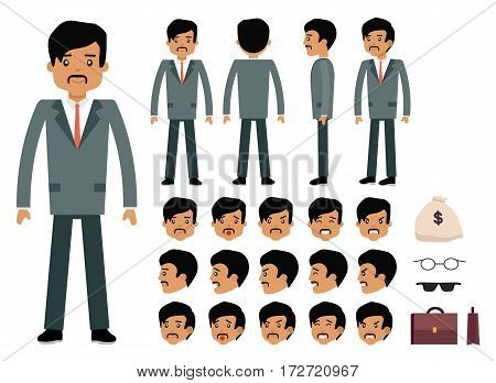 Smart businessman character creation set. Latinos man. Generator with emotions, moves, work attributes. Build your own design. Cartoon vector flat-style infographic illustration