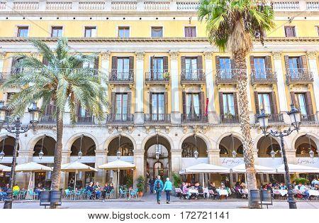 BARCELONA, SPAIN - November 10: Plaza Real Placa Reial beauty. Royal Square Catalonia