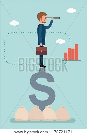 Concept flat vector business illustration. Stock broker. Businessman standing on dollar sign and looking through a telescope.