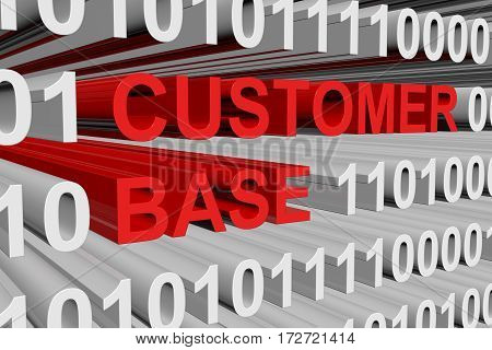 customer base is represented as a binary code 3d illustration