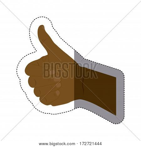 color sticker silhouette with afro hand with signal approved vector illustration