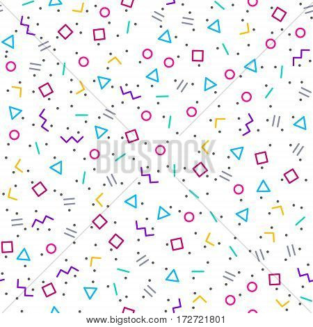 Abstract geometric background with different geometric shapes - triangles circles dots lines. Memphis style. Bright and colorful 90s style. Vector seamless pattern.