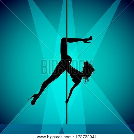 Pole dancer girl, sensual silhouette for your design