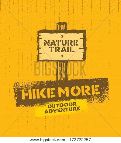 Outdoor Adventure Nature Trail Creative VectorSign Concept On Rough Cardboard Background.