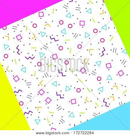 Abstract geometric background with different geometric shapes - triangles circles dots lines. Memphis style. Bright and colorful 90s style. Vector illustration.