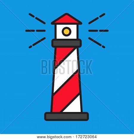Red and white lighthouse on blue background