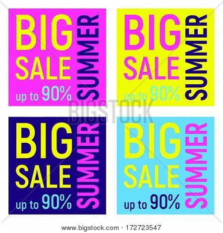 Set of four Big summer sale banner geometric background with different geometric shapes - triangles circles dots lines. Memphis style. Bright and colorful 90s style. Vector illustration. Neon colors