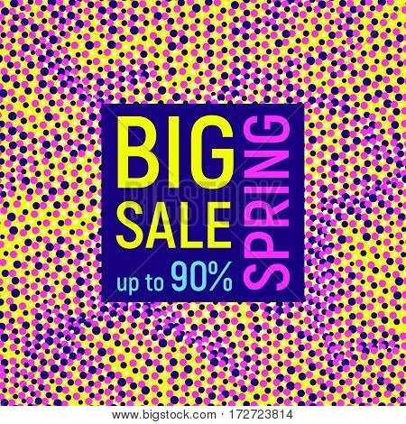 Abstract Big sale banner geometric background with different geometric shapes - dots and circles. Memphis style. Bright and colorful neon colors 90s style. Vector illustration.