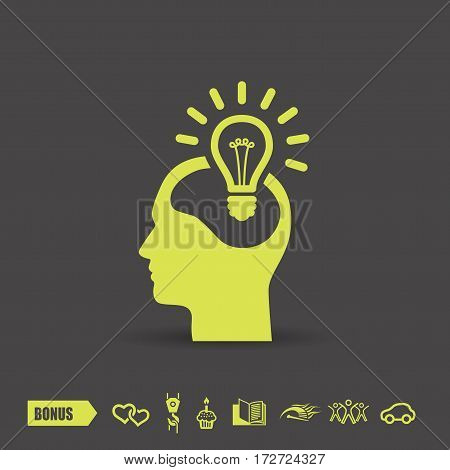 Pictograph of bulb concept. Vector concept illustration for design. Eps 10
