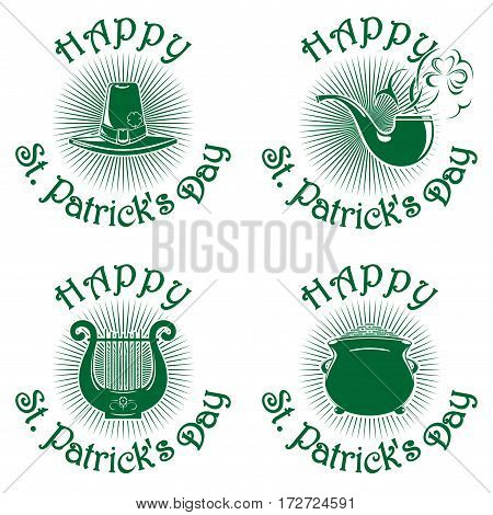 Happy St. Patrick's Day icons set. Greeting inscription. Vector green icons isolated on white background. Leprechaun hat, smoking pipe, pot of gold