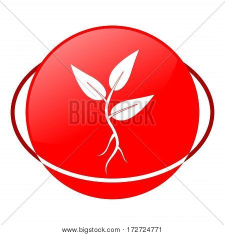 Red icon, plant sprout vector illustration on white background
