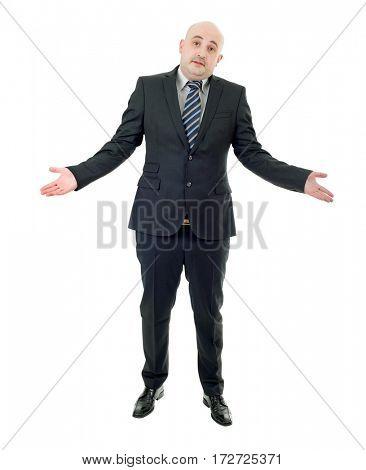businessman waiting, full body isolated on white background