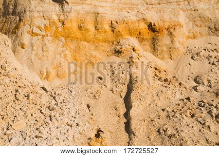 cliff of the yellow orange brown sand soil clay under the bright sunny day. Texture background.