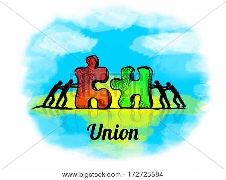 Illustration.business Concept Of Teamwork With Jigsaw Puzzle. Union