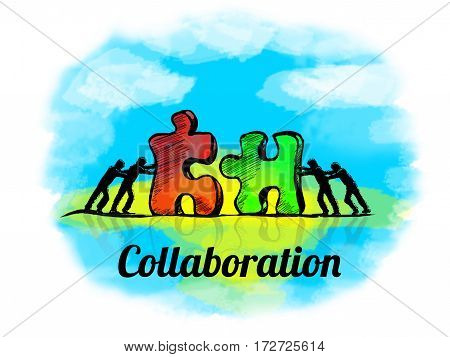Illustration.business Concept Of Teamwork With Jigsaw Puzzle. Collaboration