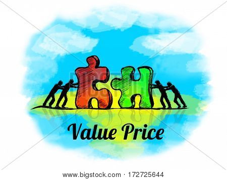 Illustration.business Concept Of Teamwork With Jigsaw Puzzle. Value Price
