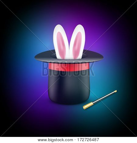 Magic poster design template. Magician concept with hat, rabbit and wand.
