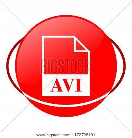 Red icon, avi file vector illustration on white background