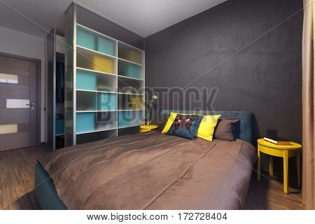 Modern interior of a private bedroom in solid colors glass wardrobe on the background