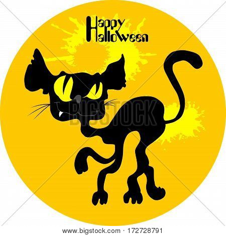 Halloween black cat silhouette against a moon night sky