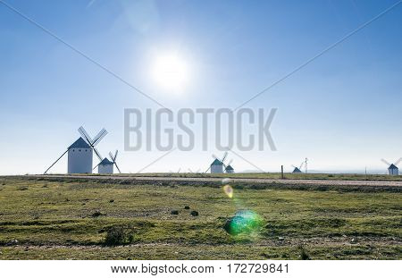 Set of windmills on the top of the hill