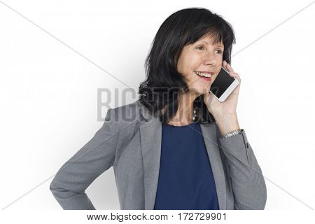Woman Smiling Happiness Mobile Phone Talking Portrait