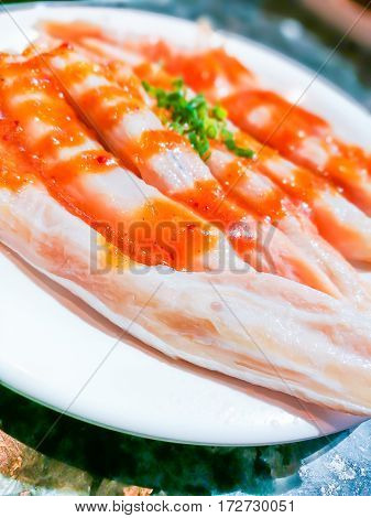 Raw salmontoro on dish for background 1