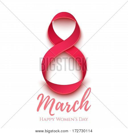 8 March greeting card template on white. International Womens day background, poster invitation or brochure. Vector illustration.