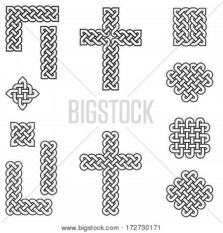 Celtic style endless knot symbols including border, line, heart, cross, curvy squares in  in white with black stroke inspired by Irish St Patrick's Day, and Irish and Scottish Culture