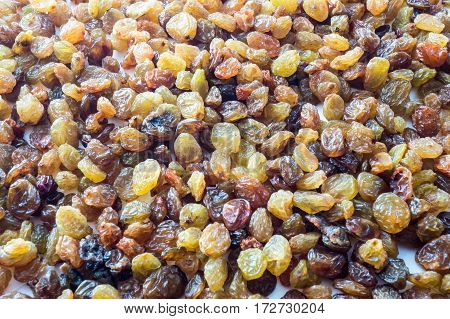 sprinkle the raisins on the table for background