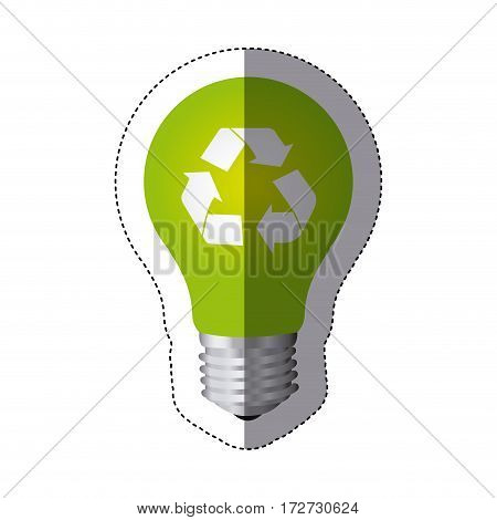 color sticker silhouette with light bulb with recycling symbol vector illustration