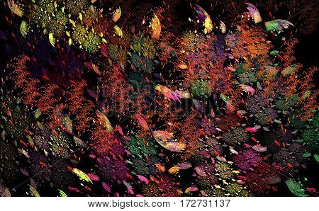 Tropical butterflies in the forest at night under the moonlight. Fractal art to decorate the walls posters postcards decorative panels etc..