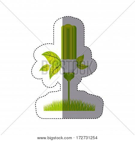 color sticker silhouette with fluorescent lamp with leaves and grass vector illustration