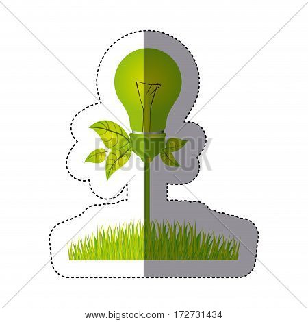 color sticker silhouette with light bulb with leaves and grass vector illustration